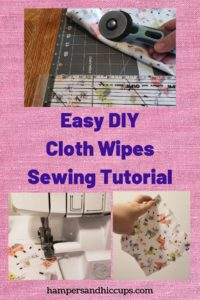 Easy DIY Cloth Wipes Sewing Tutorial rotary cutter mat ruler llama fabric serger sewing machine cloth baby wipe hampersandhiccups