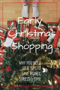Early Christmas Shopping. Why you want to. Why you need to. Why you should. Tips to save money, time and stress. Easy Christmas Shopping. Shopping done early. Less stress. Less hassle. Save money. Enjoy your holiday season.