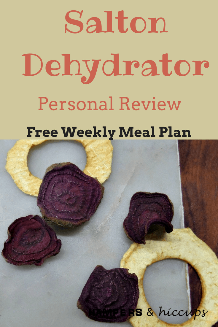 My personal review of the Salton DH4154 Collapsible Dehydrator. #dehydrate your garden produce + other goods. Create yummy #healthy #snacks. #Preserve #herbs #vegetables #fruit #meat. #inexpensive way to start your dehydrating journey. Learn what I #love and what I don't. Plus some tips for any #dehydrator, as well as a #free #mealplan. #hampersandhiccups #food #family