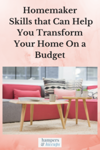 Homemaker Skills that Can Help You Transform Your Home On a Budget handmade cushion covers and couch pillows on display in living room hampersandhiccups