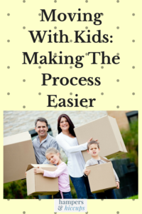 Moving With Kids: Making The Process Easier family holding moving boxes hampersandhiccups