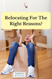 Relocating for the right reasons? Young woman in a box throwing keys in the air happily from her move hampersandhiccups