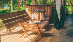 Finishing touches to your deck wood furniture hammock
