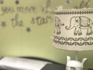 Ways to decorate your child's room - elephant theme love you more than all the stars light olive green