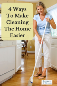4 Ways To Make Cleaning The Home Easier woman sweeping a kitchen floor hampersandhiccups
