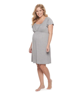 My favorite nursing nightgown a:glow gray maternity pajamas modeled by blond woman