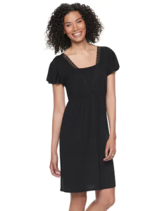 My favorite nursing nightgown from a:glow in black modeled by a dark haired woman