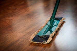 Cleaning the home easier dust mop on wood floor