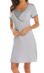 Maternity nightgown in light gray modeled on a woman