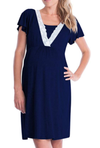 Maternity nightgown in navy modeled on a woman