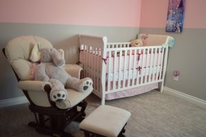 Family home features for baby nursery decor crib rocking chair ottoman