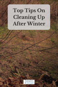 Top Tips On Cleaning Up After Winter dead grass and shrubs after winter that need a clean up hampersandhiccups