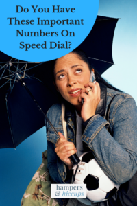 Do You Have These Important Numbers On Speed Dial? woman with umbrella and soccer ball on smartphone hampersandhiccups