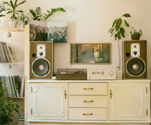 DIY to change up your home - repainted dresser stereo system