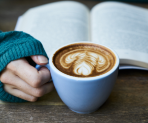 achieve the cozy look coffee and book