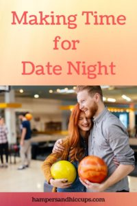 Making time for date night couple bowling holding bowling balls alley hampersandhiccups