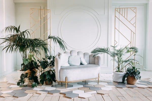 interior decor in ecostyle with greenery dried flowers and vegetation