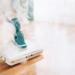 steam cleaner mop cleaining floor banner with copy space cleaning