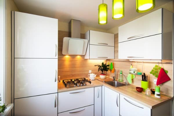 white and brown interior for small kitchen