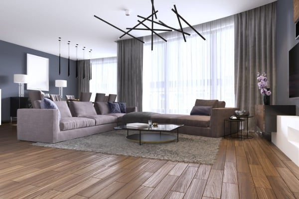 beautiful living room interior with hardwood floors and large corner