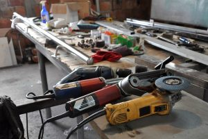 electric tools on work table