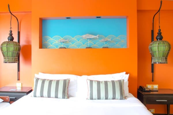 master bedroom vibrant paint