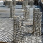 view of a tied rebar beam cage before casting concrete