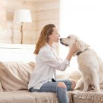 woman hugging her beloved big white dog animal communication concept