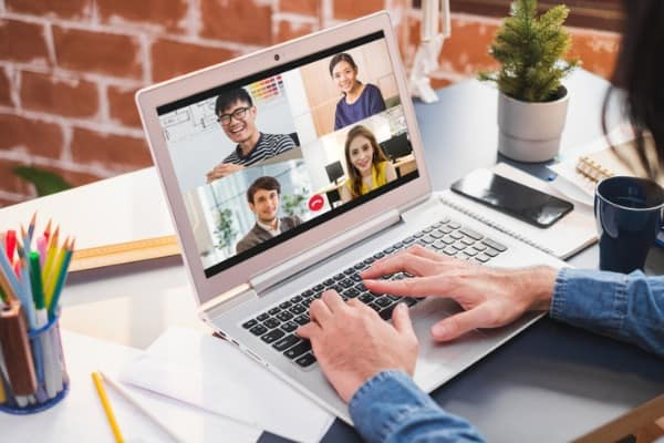 businessman work at home and virtual video conference with colleagues