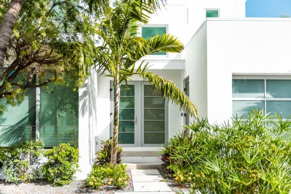 luxury modern entrance architecture of house with palm trees