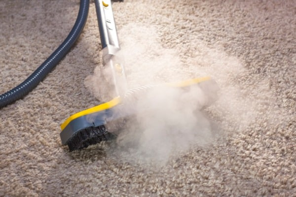 steam cleaner in action cleaning a carpet