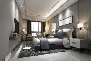 bedroom with great lights